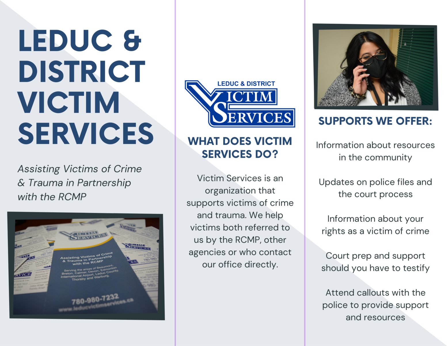 Leduc Victim Services helps individuals, what we do, and information about our program